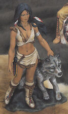 Ceramic Bisque Native American Woman with a Wolf Ready to Paint U Paint