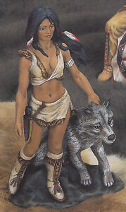Unpainted Ceramic Bisque Native American Indian Brave with Wolves Wolf Brothers Ready to Paint Your Own Pottery U Paint Ceramic Bisque