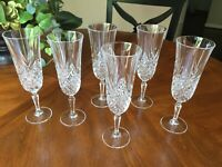 Six (6) Vintage Cut Crystal Champagne Flutes Diamonds & Fans  7 3/4'
