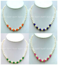 5Colors Natural 6-7mm White Freshwater Pearl 8mm Jade Gems beads Necklaces 18''