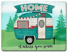 "Cutting Board--Home is Where You Roam-- 8"" X 10"" Small Temp Glass Cutting Board"