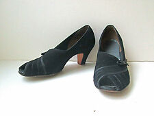 Vgc Vtg 40s Wwii Red Cross black suede peep toe shoes heels top bow 6Aa