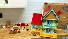 Vintage solid Wooden Dolls House With Original Box & Furniture Made By Gee Bee