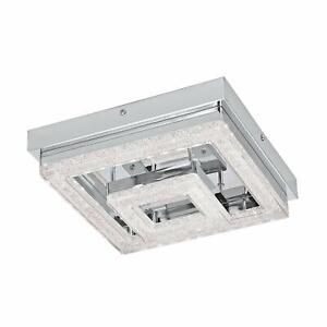 Eglo Fradelo Square Crystal LED Semi Flush Celling Light Chrome