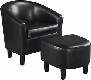 Contemporary Faux Leather Club Chair for Living Room Barrel Chair with Ottoman