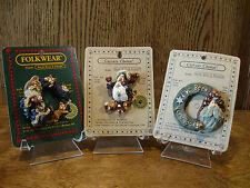 Boyds Folkwear Carver's Choice, 3 Christmas Pins; Fuzznick.; Afton.; Santa.