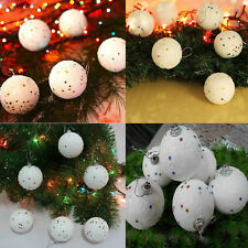 12PCS 4CM Christmas Snowball Balls Xmas Tree Hanging Decoration Party Ornaments