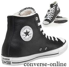 Uomini Donne Converse ALL STAR LEATHER SHEARLING HI Nero Stivali Scarpe Da Ginnastica UK 7.5
