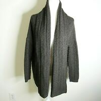 VINCE Charcoal Cableknit Open Front Cowl Neck Women's YAK/Wool Sweater Size M