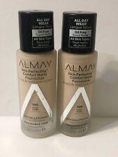 Lot Of 2 Almay 100 Cool Ivory Skin Perfecting Comfort Matte Foundation Oil Free