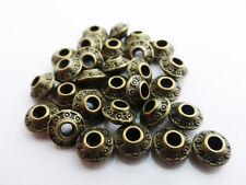 50 x Tibetan Silver Saucer Spacer Beads Antique Bronze 6.5mm x 4mm, Beads Metal
