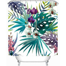 "Fabric Shower Curtain 72"" x 72"" Tropical Flowers Palm Leaf Bath Curtain 12 Hooks"