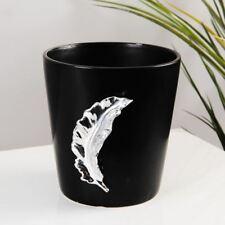 Hestia Matt Black Ceramic Vase with Silver Leaf Design  12.5cm