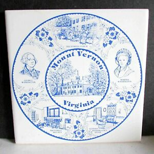 "Mt Vernon VA Virginia Souvenir Kitchen Trivet Cork Backed Tile 6"" FREE SH"