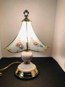 "Vintage Brass & Porcelain 16"" Touch Lamp Blue Bird & Cherry Blossom Glass Shade"