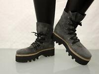 STEIGER Paris Designer Leder Schnür Stiefelette Gr.39 Schuhe Leather Boots Grau