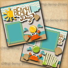 BEACH vacation 2 premade scrapbook pages layout scrapbooking BY DIGISCRAP #A0089