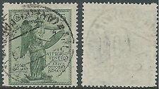 1921 REGNO USATO VITTORIA 5 CENT FILIGRANA PICCOLA CROCE - S119