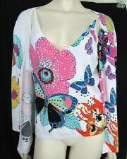 BCBG Maxazria Floral Twinset White Cardigan Tank Top XL JR Sequins Beaded Stone