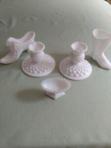 Vintage Lot of 6 Milk Glass-Hobnail Cat Head Shoe-Fenton Boot-Candlesticks-Bowl