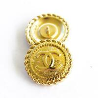 2 Stamped  Authentic Chanel Buttons 2 pcs cc gold 💋😍😘👍22 mm 0,8 inch
