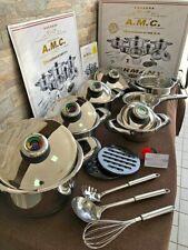 AMC Batteria Pentole Padelle Induzione Antiaderente Acciaio Inox 23 Pezzi Cucina