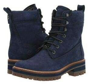 """Timberland Women's Courmayeur Valley 6"""" Inch Boots Navy Nubuck Leather Size 6.5"""