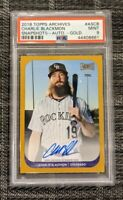 2018 Topps Archives Snapshot AS-CB Charlie Blackmon GOLD 7/10 Auto *PSA 9 MINT