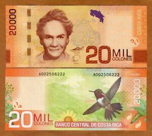 Costa Rica 20000 (20,000) 2009 P-278, A-Serie, UNC > Hummingbird