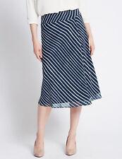 M&S Diagonal Striped Midi Flared Skirt Size 20 L33-BNWT