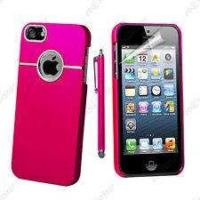 Housse Coque Rigide Silver-Line chromé Rose Apple iPhone SE 5S 5 + Stylet