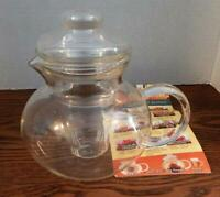 PRIMULA 3 Piece Clear Glass TEAPOT With Removable INFUSER INSERT 40 Ounce 5 Cup