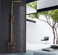 Antique Brass Bathtub Shower Faucet Set with Shelf Holder Wall Mounted