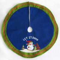 "Felt Christmas Tree Skirt Snowman Ski Let it Snow 24"" Diameter Santas Best"