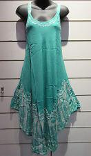 Dress Fits M L XL Sundress Green Batik Art  Tunic A Shape Rayon Sequins NWT 751