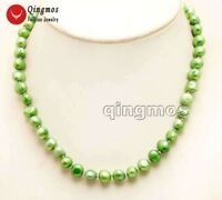 8-9mm Green Baroque Natural Freshwater Pearl Chokers Necklace for Women 17''
