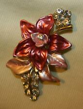 Lovely Rose Pink Pale Pink Enameled Bower of Flowers Rhinestone Brooch Pin