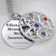 Halskette mit Gravur Partnerkette Personalisiert Geburtstag Familie Strass