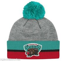 NBA Vancouver Grizzlies Mitchell and Ness Stripe Cuffed Knit Hat Beanie Cap M&N