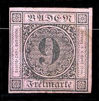 GERMANY BADEN Yvert # 4 a, VERY SLIGHTLY USED, VF