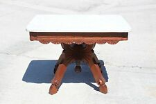 Fancy Walnut Victorian Scalloped Marble Top Coffee Table with Butterfly Base
