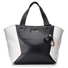 Calvin Klein Handbags Pebbled Leather Convertible Tote BLACK & WHITE