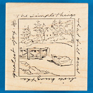 House with Dock & Row Boat Rubber Stamp - Simplest Things Bring the Greatest Joy