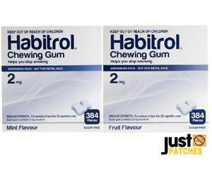Habitrol Nicotine Gum 2 mg MINT & FRUIT combo (768 pieces, 2 box) NEW 03/2023