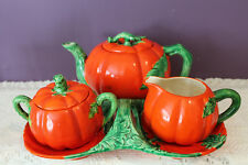 VINTAGE MARUHON WARE 4 PIECE TOMATO TEAPOT, CREAM, SUGAR AND TRAY - JAPAN