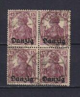 DANZIG GERMANY 1920, Mi#3, block of 4, signed, Used