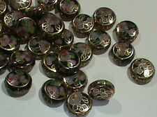 GORGEOUS Vintage Cloisonne Black With Color FLowers Coin Beads 12 MM NOS 40 PCS.