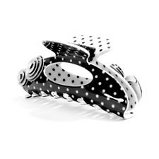 Moliabal Milano Large Hair Claw-  Black with White Pindots & Geometric Flowers