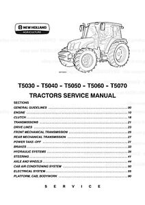 New Holland T5030 T5040 T5050 T5060 T5070 Printed Service Manual Updated 2008
