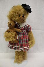 "Vintage Advantage Bears, Brown Mohair ""Betsy"" Bear W/Large Bow & Baby Bear, 13"""